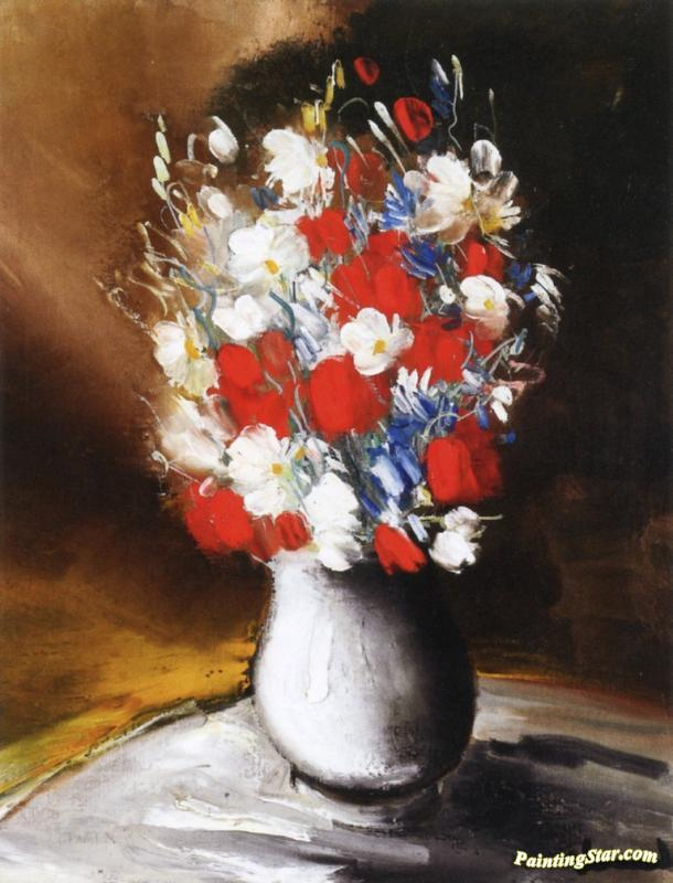 Flowers In A Vase Artwork By Maurice De Vlaminck Oil Painting Art