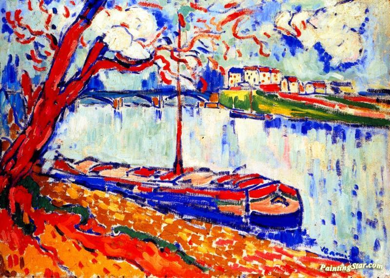 Barge On The Seine At Pecq Artwork By Maurice De Vlaminck
