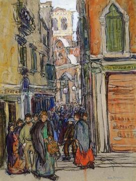 A Crowded Street In Venice Artwork by Jane Peterson