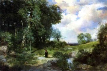 Young Girl in a Long Island Landscape Artwork by Thomas Moran