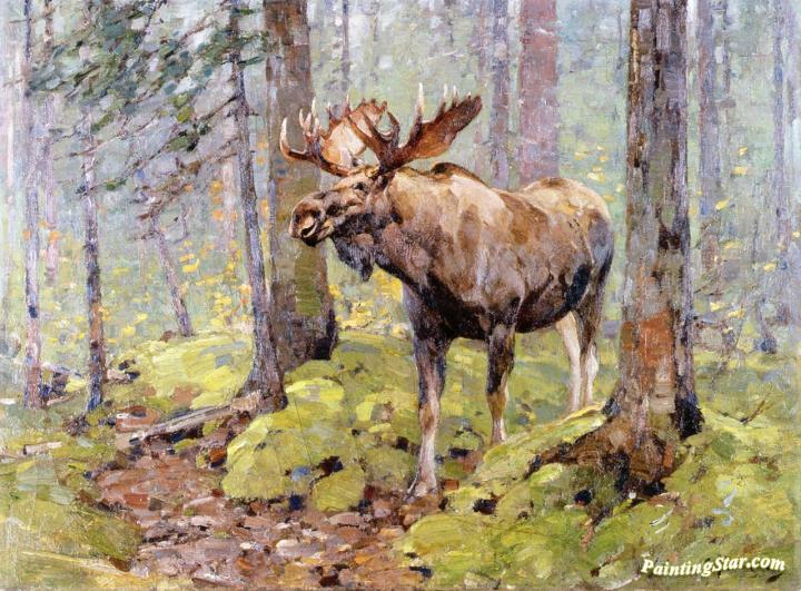 Moose In The Woods Artwork By Carl Rungius Oil Painting