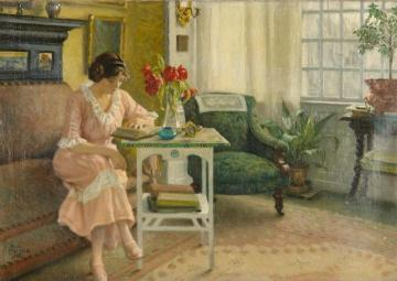 The artist's wife reading at home on Sofievej Artwork by Paul Gustave Fischer