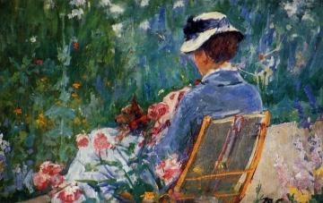 Lydia Seated In The Garden With A Dog In Her Lap Artwork by Mary Cassatt