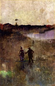 Landscape with Two Small Figures Richmond, New South Wales Artwork by Charles Conder