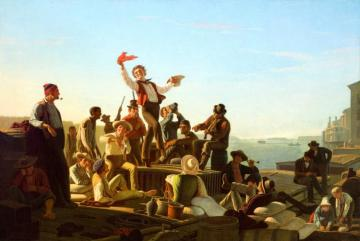 Jolly Flatboatmen In Port Artwork by George Caleb Bingham