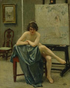 Seated model in the artist's studio Artwork by Paul Gustave Fischer
