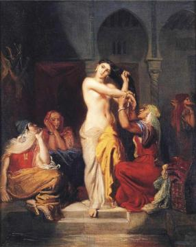Moorish Woman Leaving the Bath in the Seraglio Artwork by Theodore Chasseriau