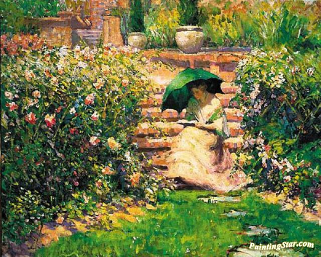 Awesome Woman Reading In A Garden Artwork By Richard Edward Miller
