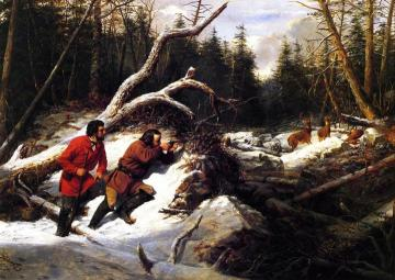 Still Hunting on the First Snow: A Second Shot Artwork by Arthur Fitzwilliam Tait