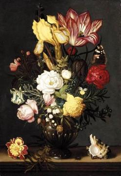 Flowers in a decorative vase, flanked by a shell and marigold, on a stone plinth Artwork by Ambrosius Bosschaert
