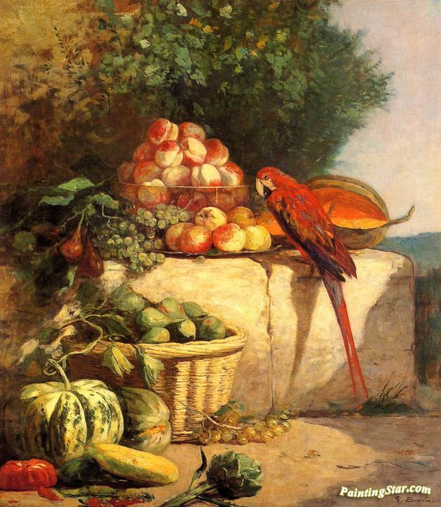 Fruit and Vegetables with a Parrot Artwork by Eugène-Louis Boudin