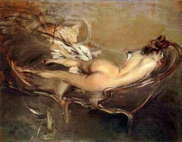 A Reclining Nude on a Day-Bed Artwork by Giovanni Boldini