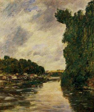 A River near d'Abbeville Artwork by Eugène-Louis Boudin