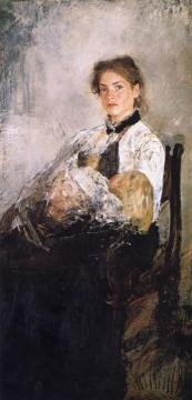 Portrait of Nadezhda Derviz and Her Child Artwork by Valentin Serov