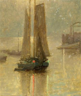 Evening Sails With Red And Green Reflections Artwork by Granville Redmond