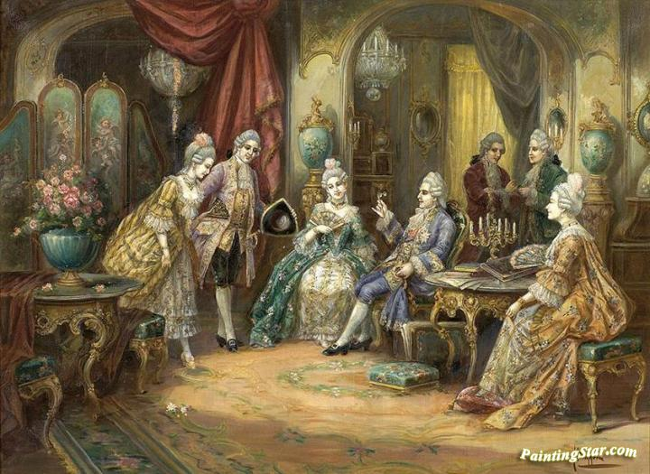 Rococo Interior Scene With Figures Artwork By Heinz Pinggera Oil - Rococo painting