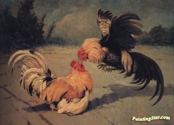 Gallos De Pelea, Art Painting by Enrique Martinez Cubells