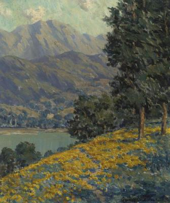California Poppies With A Lake And Mountains Beyond Artwork by Granville Redmond