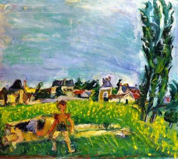 Two Children At Champigny Under A Blue Sky Artwork by Chaim Soutine