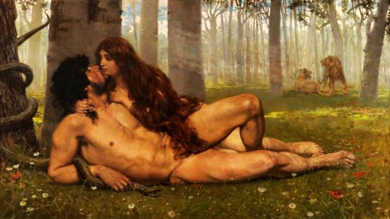 The First Kiss Of Adam And Eve Artwork by Salvador Viniegra y Lasso de la Vega