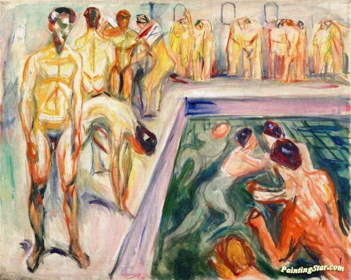Naked Men In Swimming Pool Artwork By Edvard Munch Oil Painting ...