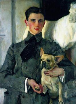 Portrait of Prince Yousoupoff with a Dog Artwork by Valentin Serov