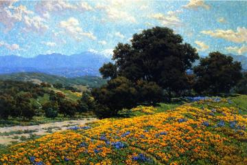 Poppy Field with Oaks and Lupines Artwork by Granville Redmond