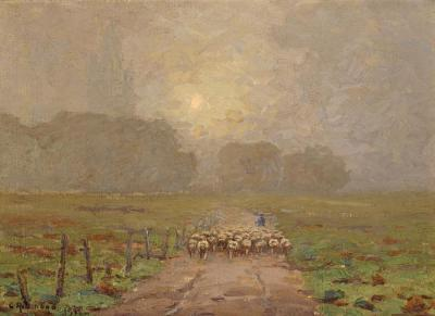 Shepherd Herding Sheep In A Misty Landscape, 1911 Artwork by Granville Redmond