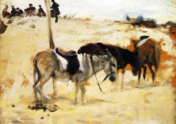Donkeys in a Moroccan Landscape Artwork by John Singer Sargent