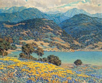 Poppies And Lupine By A Lake With Mountains In The Distance Artwork by Granville Redmond
