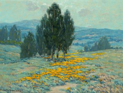 California Landscape With Poppies And Eucalyptus Artwork by Granville Redmond