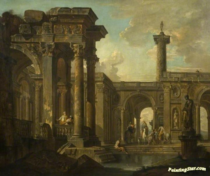Architectural Fantasy With Classical Ruins Art Painting By Giovanni Paolo Pannini