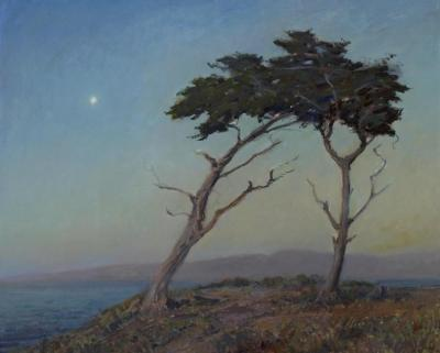 Cypress At Twilight (the Star Of Monterey) Artwork by Granville Redmond