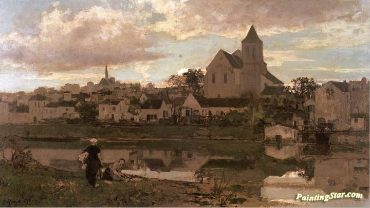 View of montigny sur loing artwork by jacob maris oil painting art prints on canvas for sale - Garage montigny sur loing ...