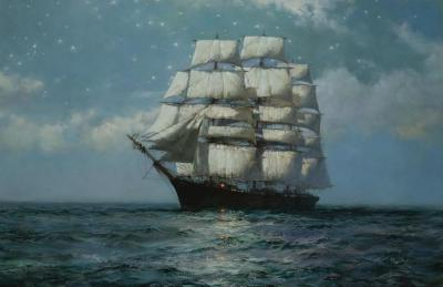 A Clipper Ship In A Moonlit Sea Artwork by Montague Dawson