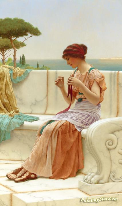 The Seamstress Artwork By John William Godward Oil