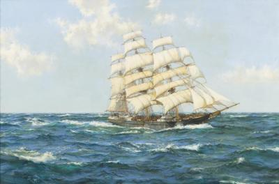 Blue Skies, The Shun Lee, 1866 Artwork by Montague Dawson