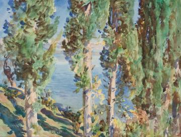 Corfu Cypresses Artwork by John Singer Sargent