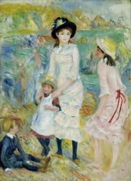 Children On The Seashore, Guernsey Artwork by Pierre Auguste Renoir