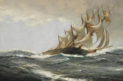 Blowing Hard Artwork by Montague Dawson