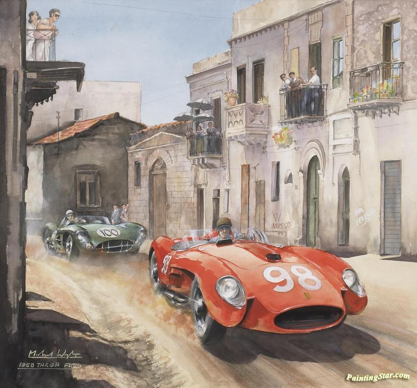 1958 Targa Florio Artwork By Michael Wright Oil Painting