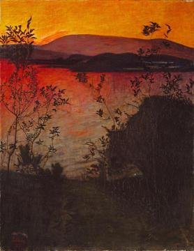 Evening Glow Artwork by Harald Oskar Sohlberg