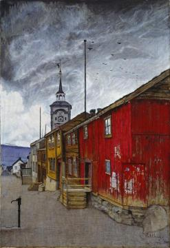 Street In Roros Artwork by Harald Oskar Sohlberg