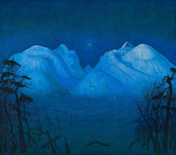 Winter Night In The Mountains Artwork by Harald Oskar Sohlberg