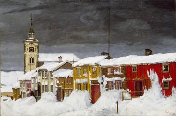 Street In Roros In Winter(after Snowstorm) Artwork by Harald Oskar Sohlberg