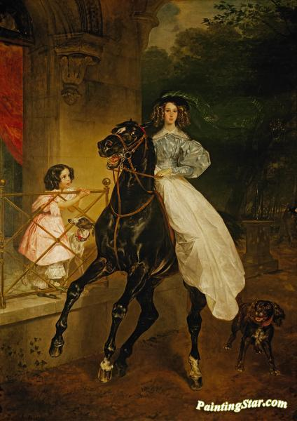 Rider. Portrait Of Giovanina And Amacilia Pacini, The Foster Children Of Countess Yu. P. Samoilova Artwork by Karl Pavlovich Bryullov