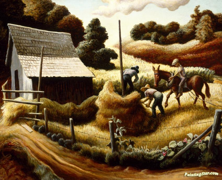 haystack artwork by thomas hart benton oil painting & art prints on ...