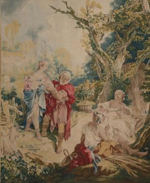Tapestry showing Psyche and the Basketmaker (Psyche et le vannier) Artwork by Francois Boucher