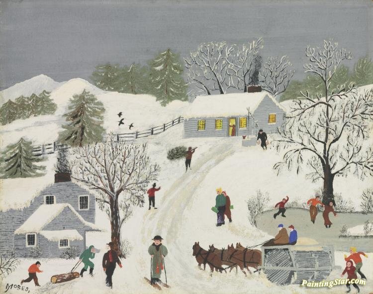 The Old Snow Roller Artwork By Anna Mary Robertson Grandma