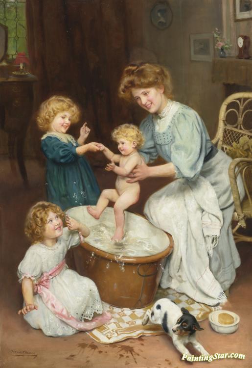 Baby\'s Bath Time Artwork By Arthur John Elsley Oil Painting & Art ...